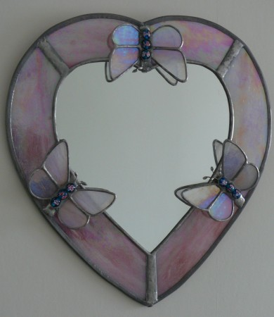 Stained Glass Heart Butterfly Mirror