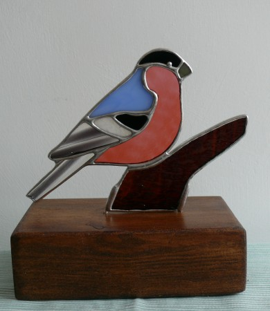 Stained Glass Bulfinch on Wood