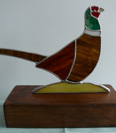 Stained Glass Pheasant on Wood