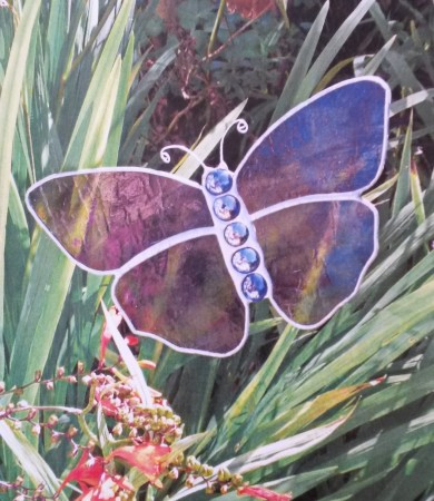 Stained Glass Butterfly Medium Iridised Purple Garden Stake