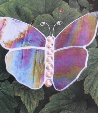 Stained Glass Butterfly Medium Iridised Orange Garden Stake