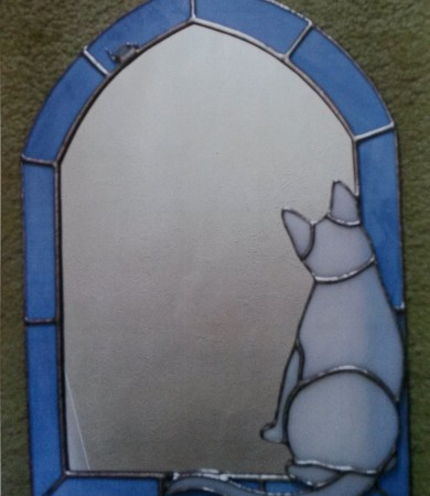 Stained Glass Cat and Mouse Mirror