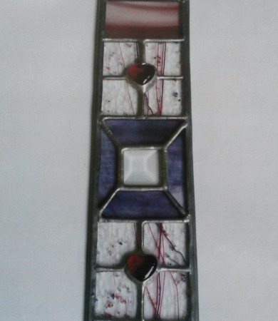 Stained Glass Heart Decorative Panel