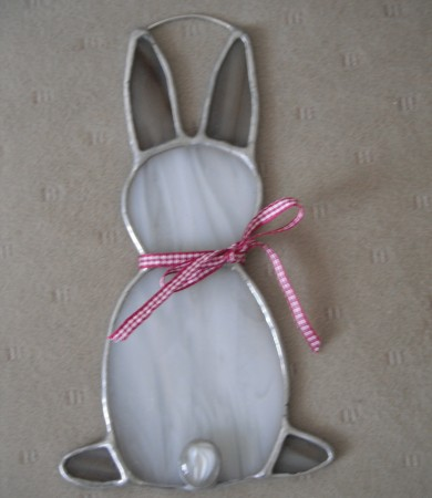 Stained Glass Bunny Rabbit Brown and White