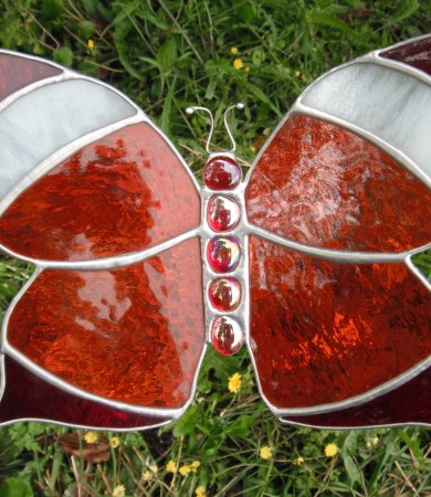 Stained Glass Butterfly Large Orange/red/white Garden Stake