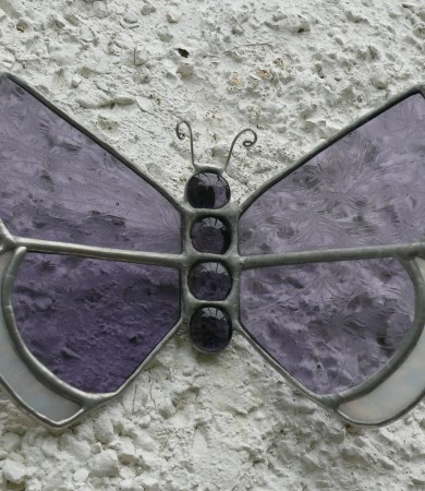 Stained Glass Purple Wall Butterfly