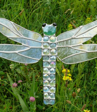 Stained Glass Dragonfly Light Blue & Green Garden Stake