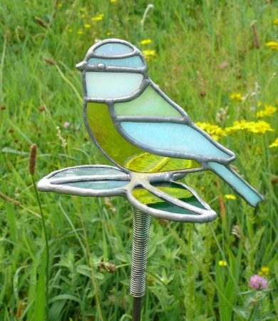 Blue Tit Stained Glass Garden Stake