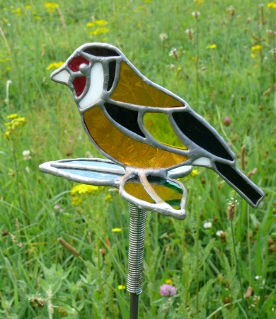 Gold Finch Stained Glass Garden Stake
