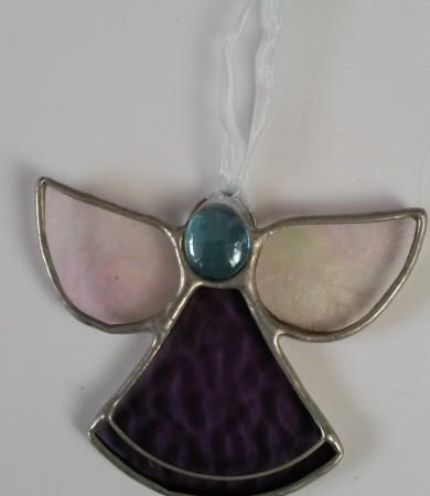 Angel Purple Stained Glass Christmas Decoration