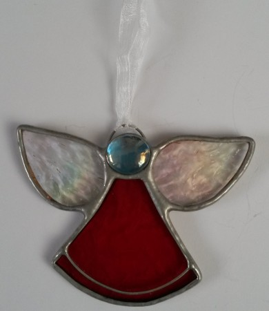 Angel Red Stained Glass Christmas Decoration