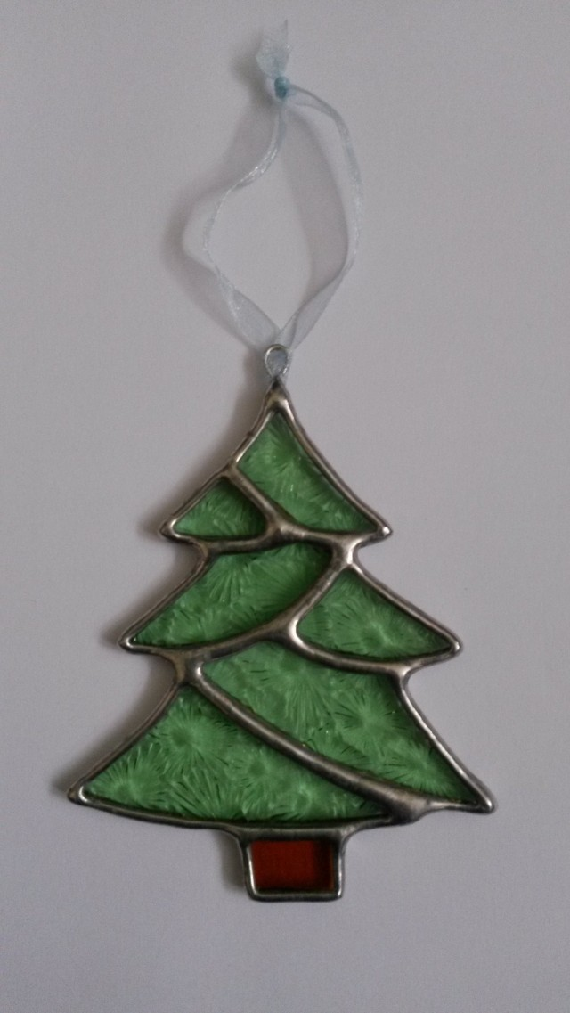 Christmas Tree Stained Glass Christmas Decoration | Dragonfly Glass ...
