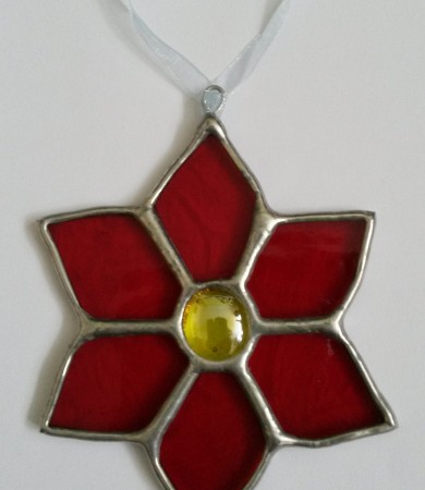 Poinsettia Stained Glass Christmas Decoration