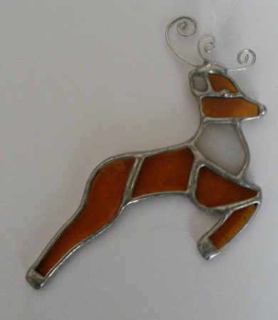 Reindeer Stained Glass Christmas Decoration