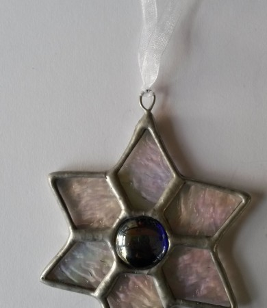 Star Dark Blue Centre Stained Glass Christmas Decoration