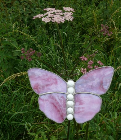 Stained Glass Butterfly Medium Pink Garden Stake