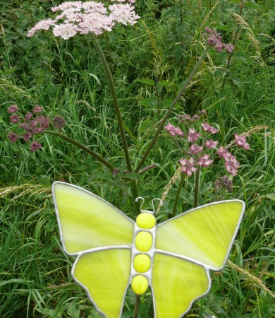Stained Glass Butterfly Small Yellow Streaky Garden Stake