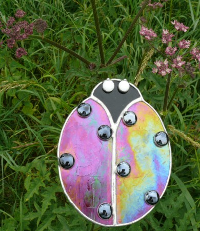 Stained Glass Ladybird Garden Stake