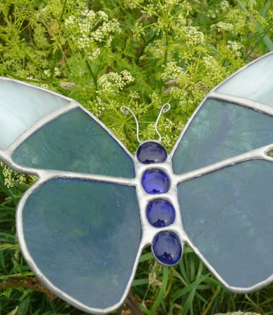 Stained Glass Butterfly Small Blue/White Tip Garden Stake