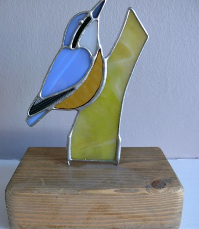 Stained Glass Nuthatch on Wood
