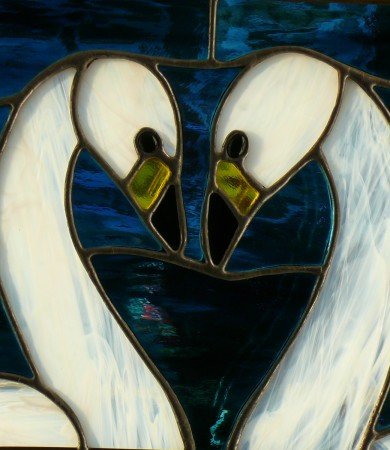 Stained Glass Bewick Swans Decorative Panel
