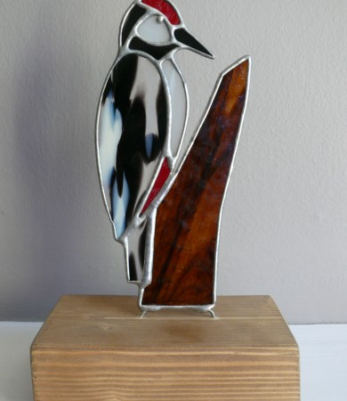 Stained Glass Spotted Woodpecker on Wood