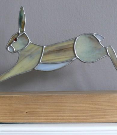 Running Hare on Wood