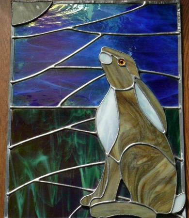 Gazing Hare Stained Glass Panel