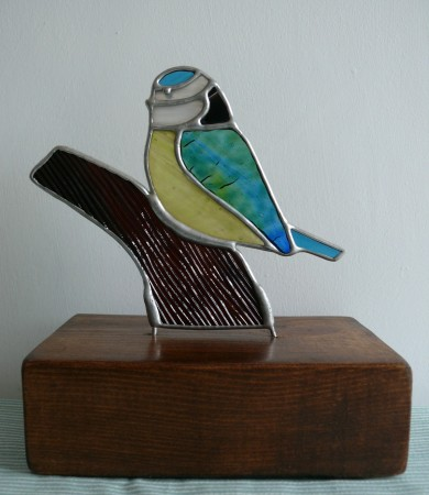 Stained Glass Blue Tit on Wood